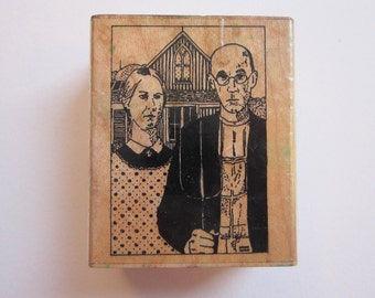 rubber stamp - AMERICAN GOTHIC - Museum Stamps - used rubber stamp