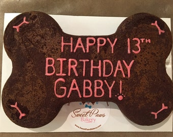 Personalized Carob Dog Birthday Bone Cake with Banana and Honey