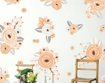 Half Order- Graphic Flower Clusters in Peach