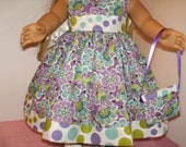 """18"""" American Made Girl Doll Clothes Purple Dots N Floral Print Classic Doll Dress 18 inch Dolls"""