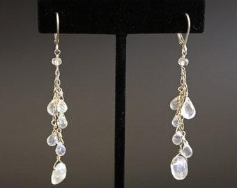 Moonstone and Sterling Silver Chandelier Earrings
