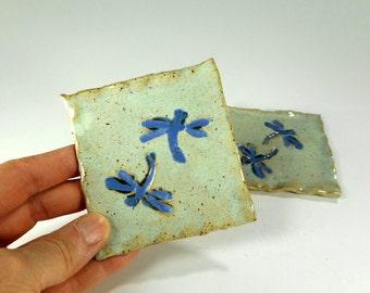 Ceramic tea bag holder spoon rests set of 2 - pottery tea bag holders - tea bag caddy - stoneware square spoon rest dragonfly stamped