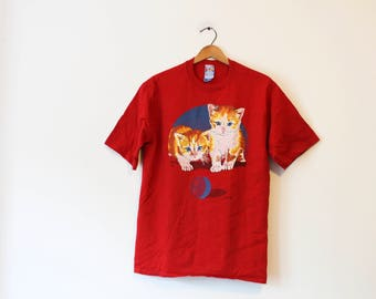 Vintage Red Kitty Cats T Shirt