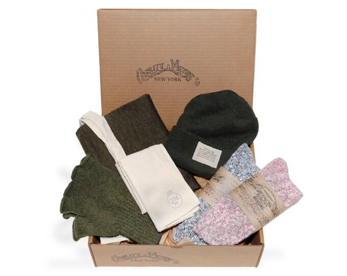 QMC Holiday Gift Box: QMC Watch Cap, Gloves, Scarf, 2 Pairs QMC Socks, Tote