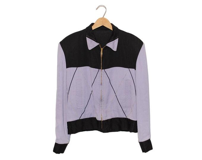 Vintage 50's Gabardine Lilac Purple & Black Reversible Jacket, Made in USA