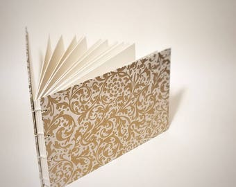 gold filigree coptic bound wedding guest book - blank gold wedding guestbook - small gold wedding guest book - hand bound wedding guest book