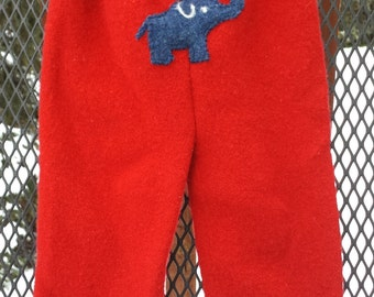 Upcycled Wool Cover, Longies, Small, red, elephant on bum