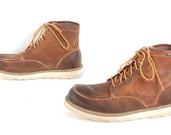 mens size 10.5 HERITAGE brown leather 80s 90s RUSTIC HIKING work boots
