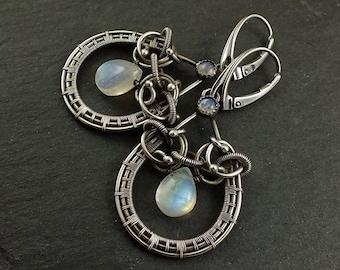 Wire wrapped moonstone earring, gemstone earring,elegant jewelry, dangle drop earring