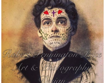Day of the Dead Art / Sugar Skull / Altered Art Painting / Mixed Media Print / Victorian Portrait / Death Mask  / Robert Price
