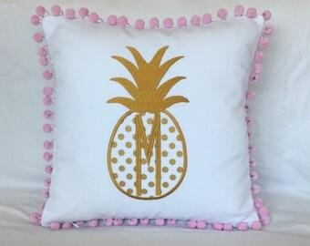 Monogrammed Pineapple Pom Pom Pillow