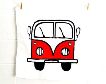 Campervan Face Cloth Red, Combi Cloth, Wash Cloth, VW, Flannel, Children's Gift, Bath Accessories