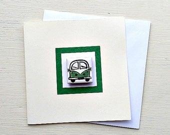 Campervan Card Green, Combi, VW, Birthday Card, Greeting Card, Blank Card, Magnet Card, Boys Card