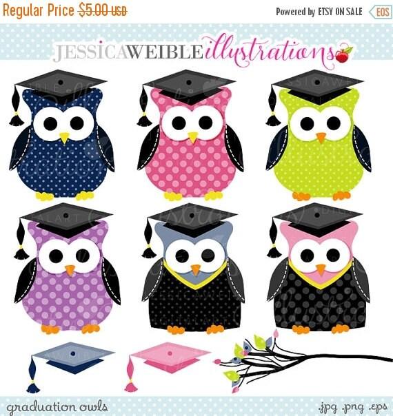 ON SALE Graduation Owls Cute Clipart, Graduation Clip art, Graduation Graphics, Owl Clipart, Polka Dot Owls, Graduation Cap, Graduation Owl