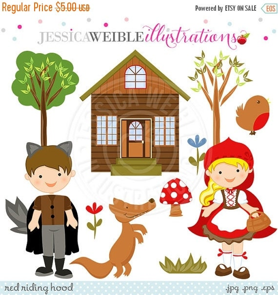ON SALE Red Riding Hood Cute Digital Clipart, Red Riding Hood Graphics, Forest Clip Art, Woodland Clip Art, Wolf Clipart, Instant Download