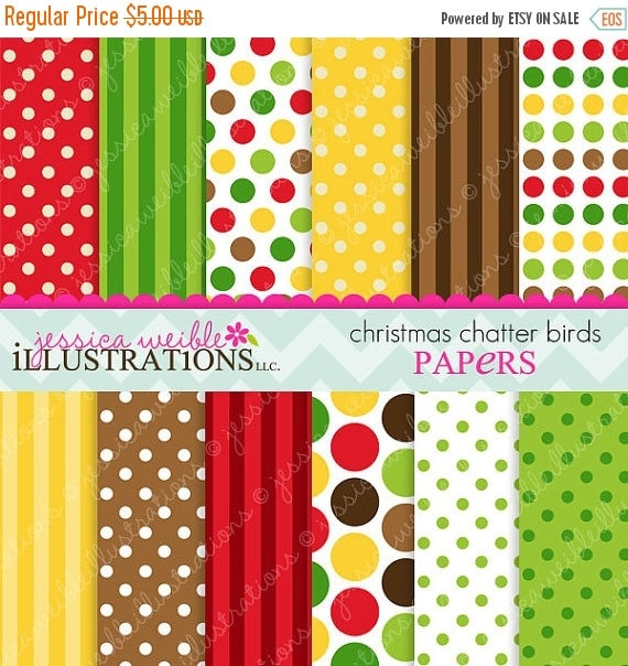 ON SALE Christmas Chatter Birds Cute Digital Papers Backgrounds for Invitations, Card Design, Scrapbooking, and Web Design