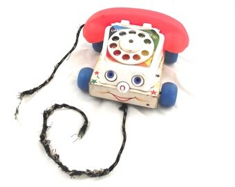 Chatter Telephone, 1961 Fisher Price No. 747 Wood and Plastic Pull Toy (K3)