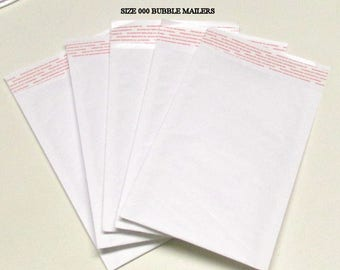 Size 000 White Kraft Bubble Mailer Envelopes (50)