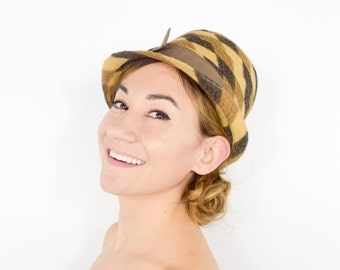 60s Cloche Hat   Tan Brown Wool Hat with Bow