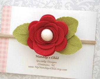 Red Felt Flower Headband, Baby Flower Headband, Red Baby Headband, Red Flower Headband, Baby Headband, Toddler Headband, Baby Girl Headband
