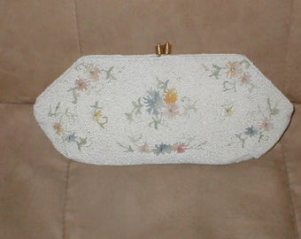 Antique Vintage White Beaded Evening Purse with Pastel Embroidery circa1930's