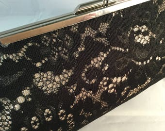 Black And Silver Lace Medium Clutch Bag