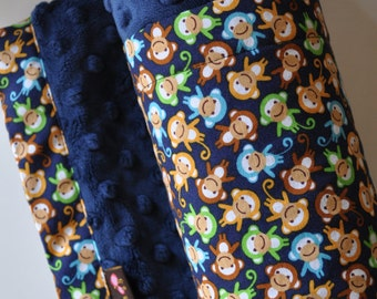 Baby Infant Toddler Blanket, X LARGE, Snuggle Size, Brown, Blue & Green Monkeys with Aqua Minky