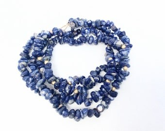 Lapis lazuli chips Necklace double strand beaded with gold accents vintage Necklace