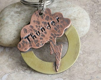 Thundercloud / Lightning Bolt / Pet ID Tag / Dog Tag / Key Chain / Copper / Brass / Personalized / Customized / Unique / Fun / Handmade C059