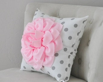 SALE Baby Pink Dahlia Flower on White and Gray Polka Dot Pillow Accent Pillow Throw Pillow Toss Pillow Decorative Pillow Light Pink Pillow