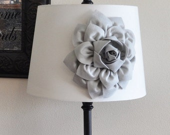 SALE Gray Dahlia Lampshade Flower Accessory Magnet -Lamp Shade Flower Embellishment- NEW COLLECTION