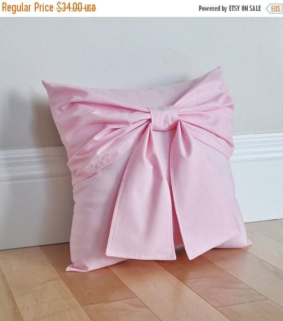 HALLOWEEN SALE Light Pink Bow Throw Pillow 14x14
