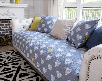 Jeans Blue White Hearts Sofa Cover Couch Slipcover Loveseat Cover Cotton Yellow Heart Home Decor