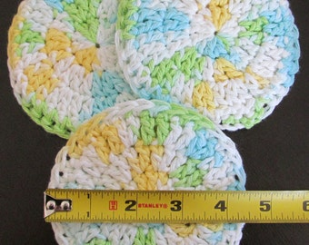 """Facial Scrubbies ~ 4 1/4"""" in diameter ~ double thickness ~ set of 3"""