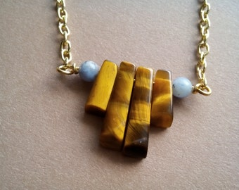 Tigers eye necklace | minimalist | gold | stone pendant | dumortierite quartz | dainty
