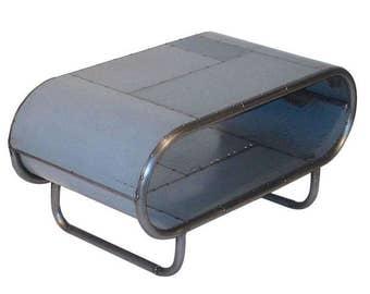 Reclaimed Steel Vintage Industrial Gray Grey End Table