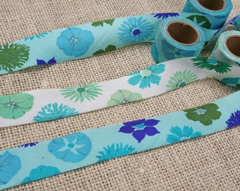 Vintage Bias Tape Rolls 3 Blue Green Floral Rolls