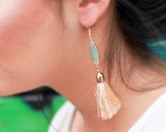 Tassel Earrings For Her - Womens Fringe Earrings - Mint Earrings - Beige Earrings - 24K Gold Tassel Jewelry - Crystal Dangle Boho Earrings