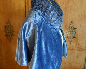 SALE Vintage 1930 silk velvet cape/ blue silk cape and bag set/ruched collar cape/silk velvet clutch/Art Deco cape and bag velvet jacket