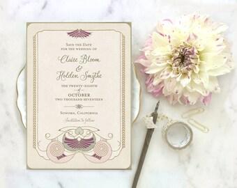 Wedding Invitations, Wedding Invitation Set, Art Deco Wedding, Vintage Wedding Invitations, Art Nouveau Wedding, Fairy Tale Wedding, Isadora