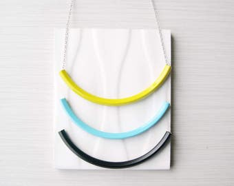 Tube Necklace, Trendy Jewelry, Noodle, Yellow, Aqua, Turquoise Blue, Black, Simple, Modern, Contemporary, Custom Length, Long, Short