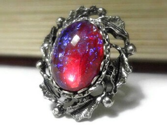 Fire Opal Ring - Victorian Jewelry - Dragons Breath Opal Ring - Gothic Jewelry - Medieval Jewelry - Renaissance Jewelry - Art Nouveau