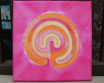 Labyrinth Silk Painting Meditation Mandala  Pink Orange StarsSpiritual Journey