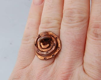 leopard print statement copper ring hammered ring swirl ring