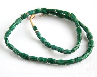 Vintage Glass Trade Beads Tube Oval Melon Green White Stripe 24 inch Strand Like New