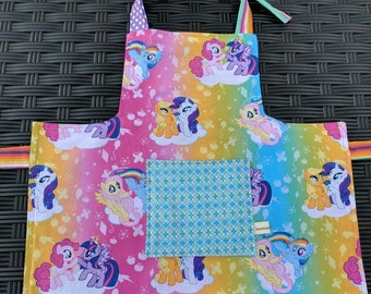 Girls Apron My Little Pony Reversible Kids Apron Kids Art Smock Toddler Apron My Little Pony Apron Handmade Apron 4T-6