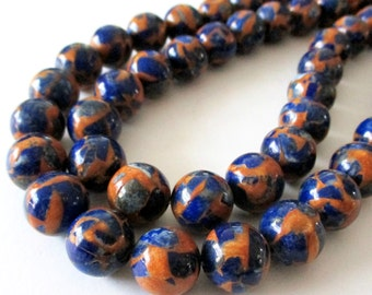 "Blue Composite Quartz with Gold Matrix - Natural Gemstone Beads - Mix Navy Blue Orange - Smooth Round Beads 7.5"" Strand - 10mm - DIY Jewelry"