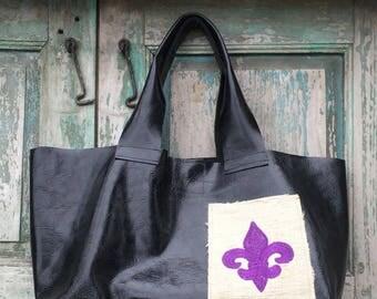 Handmade Black Leather French Market Bag with Purple Custom Embroidered Fleur de Lis Exterior Pocket