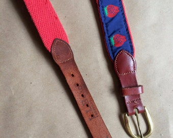 WEEKEND SALE ! vintage 80's strawberry belt / leather belt / L.L. Bean belt /  32 inch