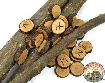 White Willow wood Rune Set Elder Futhark With Manual & Pouch